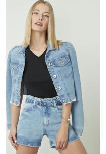 Jaqueta Azul Claro Jeans Slim Cropped
