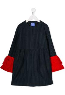 Stella Jean Kids Striped Fringed-Cuff Coat - Azul