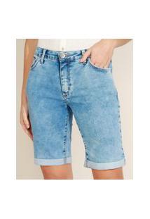 Bermuda Jeans Feminina Ciclista Cintura Alta Com Barra Dobrada Azul Claro
