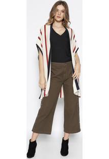 Kimono Em Tricã´ Listrado - Bege & Vermelho - Mobmob