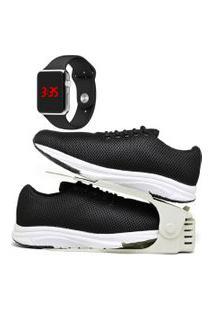 Kit Tênis Esportivo Caminhada Com Organizador E Relógio Led Silver Dubuy 1108Db Preto