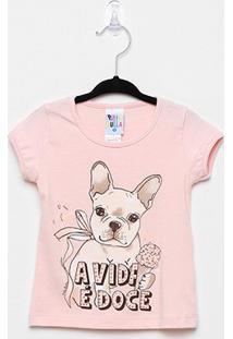 Blusa Infantil Pulla Bulla Cotton Dog Feminina - Feminino-Rosa Claro