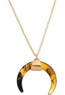 Colar Banhado A Ouro Com Chaton Resinado Tartaruga- Dourcarolina Alcaide