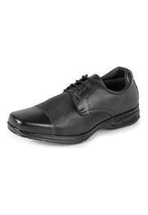 Sapato Social Confort Com Cadarço Em Couro Slz 5051 Preto
