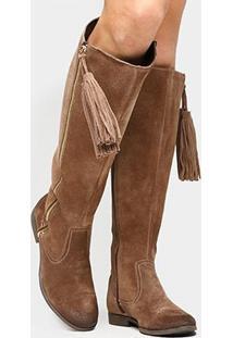 Bota Couro Over The Knee Shoestock Barbicacho Feminino - Feminino