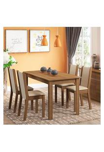 Conjunto Sala De Jantar Rosa Madesa Mesa Com 4 Cadeiras Marrom