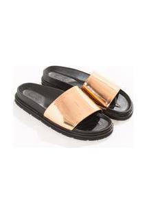 Sandalia Chinelo Metalizada Bege Blush 16-1422 Tcx
