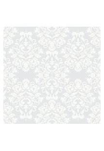 Papel De Parede Arabesco Cinza E Off-White 57X270Cm