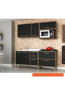 Cozinha Compacta Vitória 6 Pt 5 Gv Preta E Avelã
