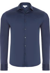 Camisa Masculina Slim Cannes Toque Suave - Azul Marinho