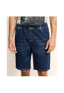 Bermuda Jeans De Moletom Masculina Relaxed Com Bolsos Azul Escuro