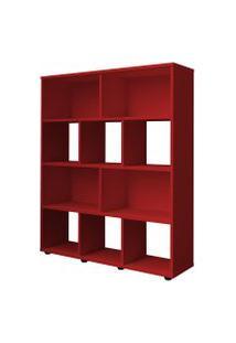 Estante Para Livros Rack Book 3 Prateleiras Vermelho Artely