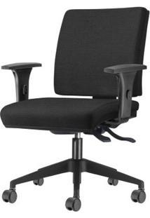 Cadeira Simple Com Braco Assento Crepe Preto Base Nylon Piramidal - 54931 Sun House