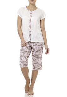 Pijama Curto Feminino Cinza/Rosa - Feminino