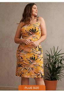 Vestido Amarelo Evasê Folhagens Em Viscose