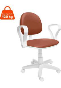 Cadeira De Escritório Secretária Mazikeen Ajustável Marrom E Branca