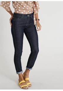 Calça Jeans Feminina Skinny Cintura Alta Azul Escuro fc8a8197ef0ab