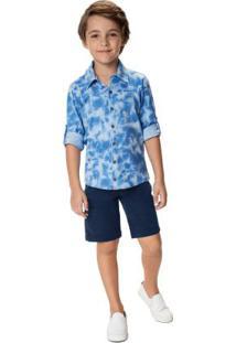 Conjunto Azul Camisa Tie Dye Menino