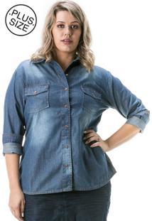 c66afaedeb Camisa Jeans Plus Size - Confidencial Extra Manga Longa Azul