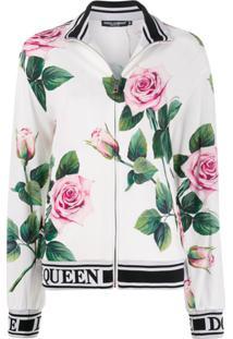 Dolce & Gabbana Jaqueta Esportiva Com Estampa De Rosa - Branco