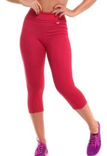Calça Corsário Com Proteção Solar Fitness Run - Sandy - Feminino-Vermelho