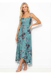 Vestido Midi De Viscose Estampa Floral Souk Azul