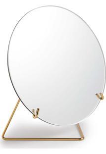 Espelho Com Suporte Metal Dourado Mart Collection