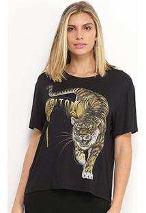 Camiseta Triton Estampa Tigre Feminina - Feminino-Preto