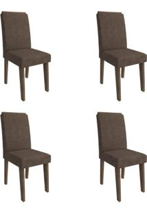 Conjunto Com 4 Cadeiras De Jantar Milena Suede Marrocos E Cacau