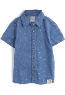 Camisa Jeans Hering Kids Menino Estampa Azul
