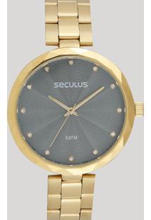Relógio Analógico Seculus Feminino - 77039Lpskds1 Dourado - Único