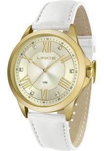 Relógio Lince Feminino Analógico Lrc4671L Kn29C2Bx Dourado Pulseira De Couro Branca