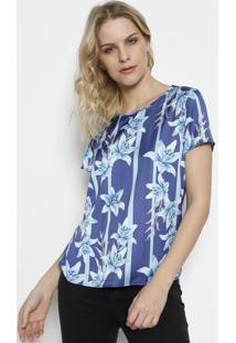 Camiseta Com Recorte Acetinado - Azul Marinho   Azul Clagris 2dc83889a2