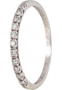Meia Aliança De Ouro Branco 18K Com Diamantes-Coleção True 2