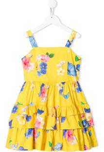 Lapin House Vestido Com Amarração E Estampa Floral - Amarelo