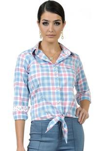 Camisa Xadrez Com Amarração Principessa Flaviane - Feminino-Azul+Rosa 9d854cd76e4c4