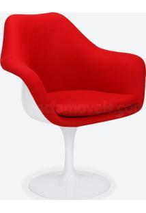 Cadeira Saarinen Revestida - Pintura Branca (Com Braço) Suede Azul Escuro - Wk-Pav-14
