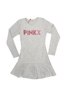Vestido Peplum Pinkx Em Malha Canelada Decote Costas E Aplicaçáo De Glitter Cinza