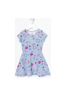 Vestido Infantil Estampado - Tam 5 A 14 Anos | Fuzarka (5 A 14 Anos) | Azul | 11-12