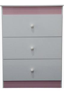 Cômoda Infantil Ternura Branco/Rosa Flex - Lc Móveis