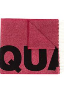 Dsquared2 Cachecol Jacquard De Lã Com Logo - Vermelho