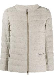Herno Funnel-Neck Quilted Bouclé Jacket - Neutro