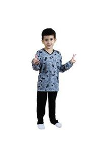 Pijama Grappin Masculino Longo Infantil Juvenil Preto-E173