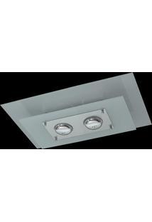 Plafon Saturno Aluminio E Vidro Pmr 136 Escovado Branco Bivolt
