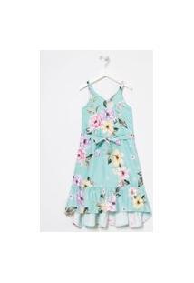 Vestido Infantil Estampa Floral Barra Com Babados - Tam 5 A 14 Anos | Fuzarka (5 A 14 Anos) | Verde | 9-10