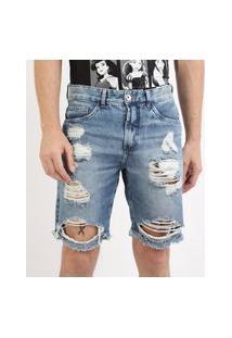 Bermuda Jeans Masculina Slim Destroyed Com Bolsos Azul Médio
