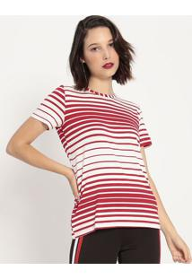 Camiseta Listrada- Off White & Vermelha- Coca-Colacoca-Cola