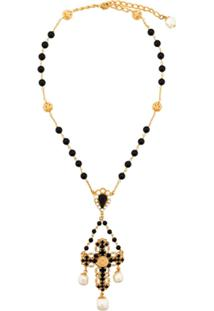Dolce & Gabbana Crucifixo Com Contas - Preto