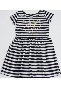 Vestido Infantil Listrado Coração Manga Curta