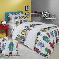 92b4b83423 Jogo De Cama Robô Happy Day De Solteiro- Verde   Amarelosultan